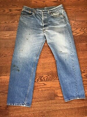 Vintage Made In USA Levi's 501 Distressed/ Stained Jeans - 35 X 26