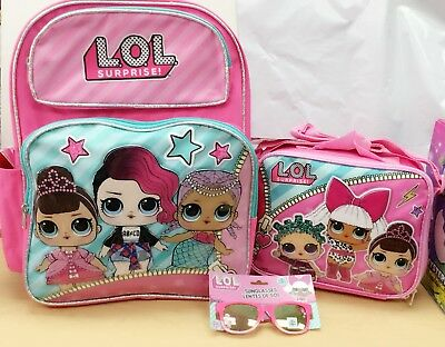 """LOL Surprise girl 16"""" Backpack + Lunch Bag +Sunglasses + 10 Piece StationerySet"""