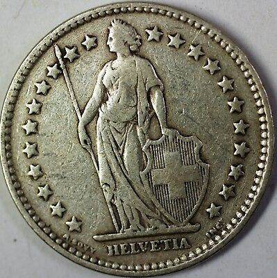 1921 B Switzerland 2 Francs Average Circulated Helvetia Silver Coin
