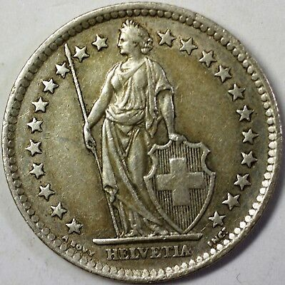 1958 B Switzerland 2 Francs Average Circulated Helvetia Silver Coin