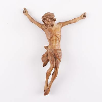 Antique Hand Carved Wooden Jesus Christ Corpus Figure for Crucifix