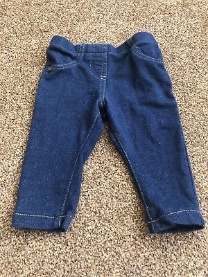 Blue Denim Jeans Style Leggings Trousers Baby Girls 0-3 Months