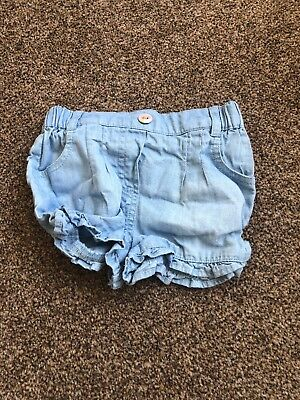 M&co Light Blue Denim Ruffled Shorts Baby Girls 3-6 Months