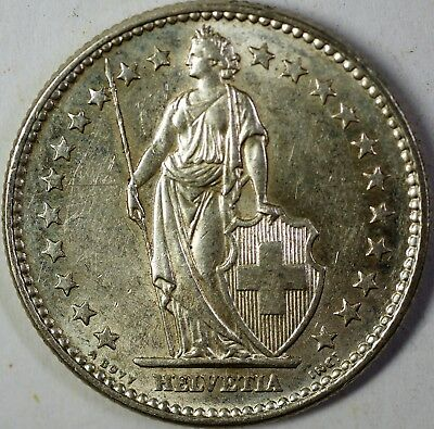 1965 B Switzerland 2 Francs Average Circulated Helvetia Silver Coin