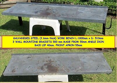 WORK BENCH - WALL MOUNTED GAL STEEL (2.6mm) 1800 x 510mm (2 Available)