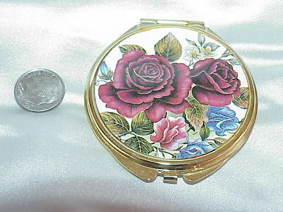 VTG 80s Roses Compact ~ Regular + Magnify Mirrors -Gold Tone  Estate Piece