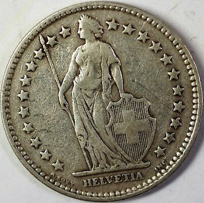 1920 B Switzerland 2 Francs Average Circulated Helvetia Silver Coin