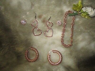 Lot of many earrings & bracelet Sterling Silver w/rose gold over just lovely