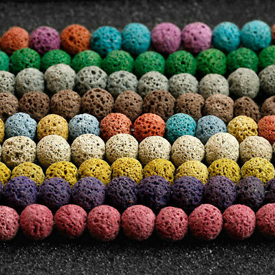 "Dyed Volcanic Lava Rock Gemstone Beads Natural Round Loose 8mm 15.5"" Strand"