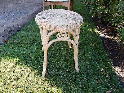 """wicker rattan bamboo plant stand stool vtg tan scroll  vintage  18"""""""