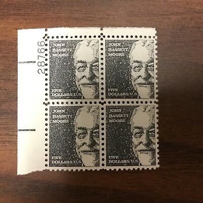 {BJ Stamps} 1295a   John. B. Moore. Plate Blocks of 4  $5.00 stamps. Issued 1973