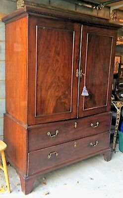 Antique Georgian Mahogany Linen Press Wardrobe