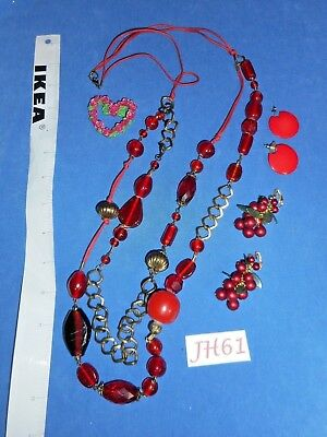 Vintage Costume Jewelry: Red Valentines, Faux Pearls, Roses 4p Lot JH61