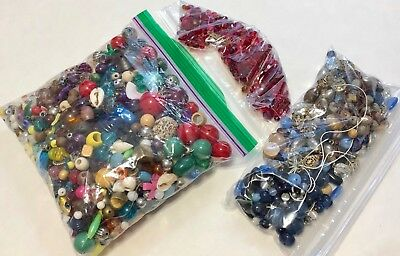 Lot of Vintage Loose Beads Lucite, Glass, Plastic+ - Small Flat Rate 1 1b 14 oz