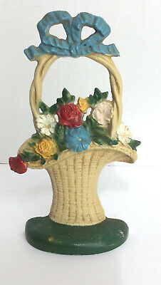 Antique Original Hubley #69 French Basket of Flowers Door Stop Bookend Cast Iron