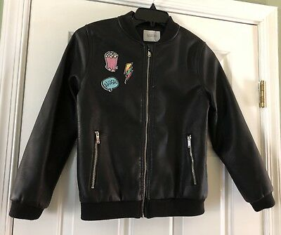 Zara Girls Outerwear Sz 11/12 Black Faux Leather Bomber Jacket Coat Patches NWOT