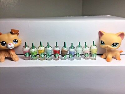 Littlest Pet Shop LPS Accessories10 Starbucks Frappe/Coffee 10 different colors