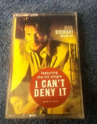 """Rod Stewart """"HUMAN"""" (new sealed audio cassette) with hit single I Can't Deny It"""