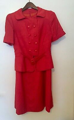 Vintage 60s Italian Linen Strawberry Red Two-Piece Dress Suit 1960s Size S