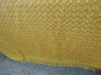 "40's Vintage Cotton amber gold Heavy Chenille Full Bedspread 98""X100"""