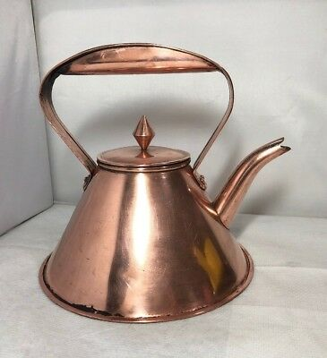 Vintage Unusual Flat Bottom Barge Ship Kettle Arts & Crafts Copper Stylish Old