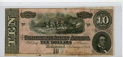 1864 $10 Ten Dollar Confederate Note / Currency #396