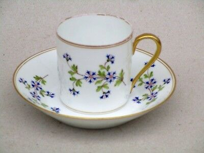 Porcelaine De Limoges Tasse A Cafe  Litron  Decor Barbeaux Peint A La Main