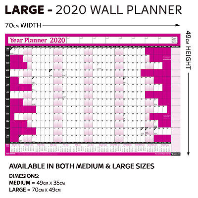 2019 Laminated Yearly Wall Planner Calendar✔Wipe Dry Pen & Sticker Dots✔ PINK