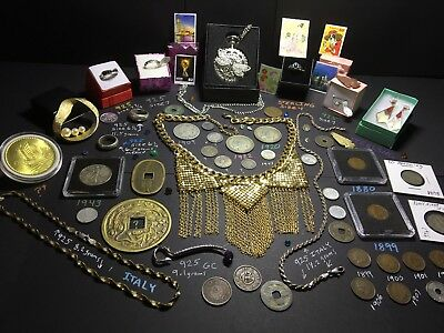 Junk Drawer Lot 925 Sterling Gold Tone Jewelry Silver Coins Barber Liberty Rings