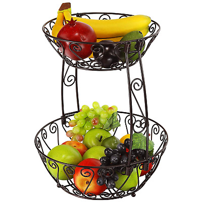 Wrought Iron Fruit Basket 2 Tier Wire Metal Tiered Bowl Bronze Vintage Look