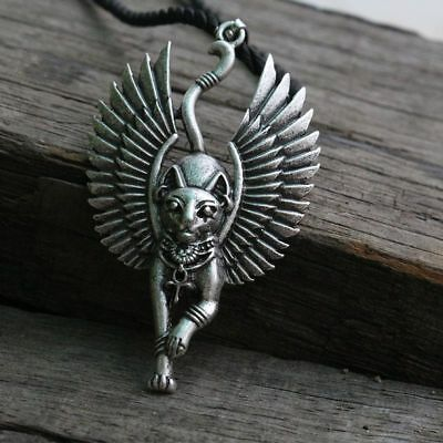 Ancient Egyptian Cat With Wings Pendant Necklace Bastet Rope Chain