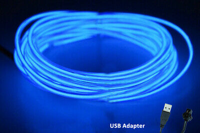 5M 12V Neon LED Light Glow EL Wire String Strip Rope  Dance Party BLUE USB