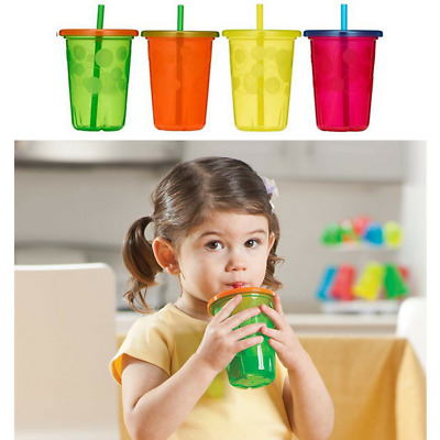 Kids Cups With Lid & Straw | Toddler Baby Durable Clear Plastic Smoothie Tumbler