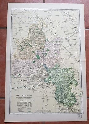 Early 20th century map Bacons Geographical Establishment OXFORDSHIRE