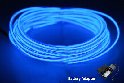 5M 12V Neon LED Light Glow EL Wire String Strip Rope  Dance Party BLUE BATTERY