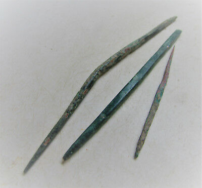 Ancient Roman Lot Of 3 Bronze Tools/writing Stylus