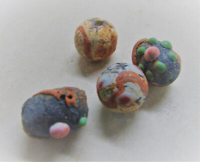 Lot Of 4 Ancient Celtic Glass Mosiac Beads