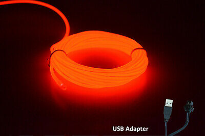 5M 12V Neon LED Light Glow EL Wire String Strip Rope  Dance Party RED USB