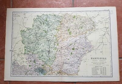 Early 20th century map Bacons Geographical Establishment HAMPSHIRE NORTH SHEET