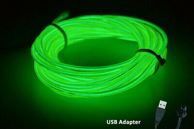 5M 12V Neon LED Light Glow EL Wire String Strip Rope  Dance Party GREEN USB