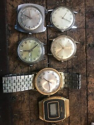 Vintage Lot Of 6 Wrist Watches Timex Style Antique