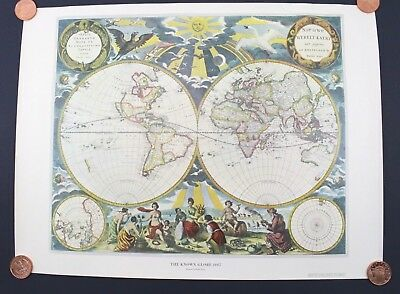 The Known Globe 1667 Map by Pieter Goos American Heritage Magazine 24 x 18