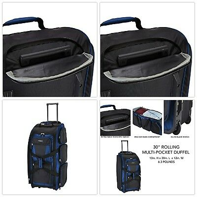 """Travel Rolling Duffel Bag 30"""" Travelers Club Xpedition Luggage Multi Pockets New"""
