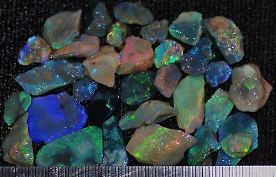100 Cts Solid Gem Quality Lightning Ridge Rough And Rough Rubbed Opal Parcel 60