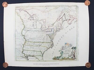 First American Map United States 1784 Abel Buell American Heritage Mag 24 x 18