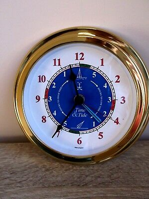 hermle brass cased ships type Clock with low and high tide timer Nautical