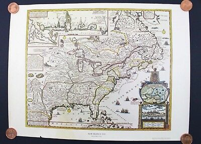 New France 1745 Map by Reiner Ottens America American Heritage Magazine 24 x 18