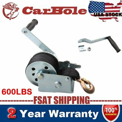 600LBS Hand Winch Hand Crank Strap Gear ATV Boat Trailer Heavy Duty Trailer New