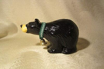 Shenandoah Black Bear Ceramic Bank w/ Ribbon and Bell Excellent Condition