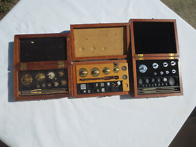 Vintage collectible Wooden Analytical Weight Box Sets (3)